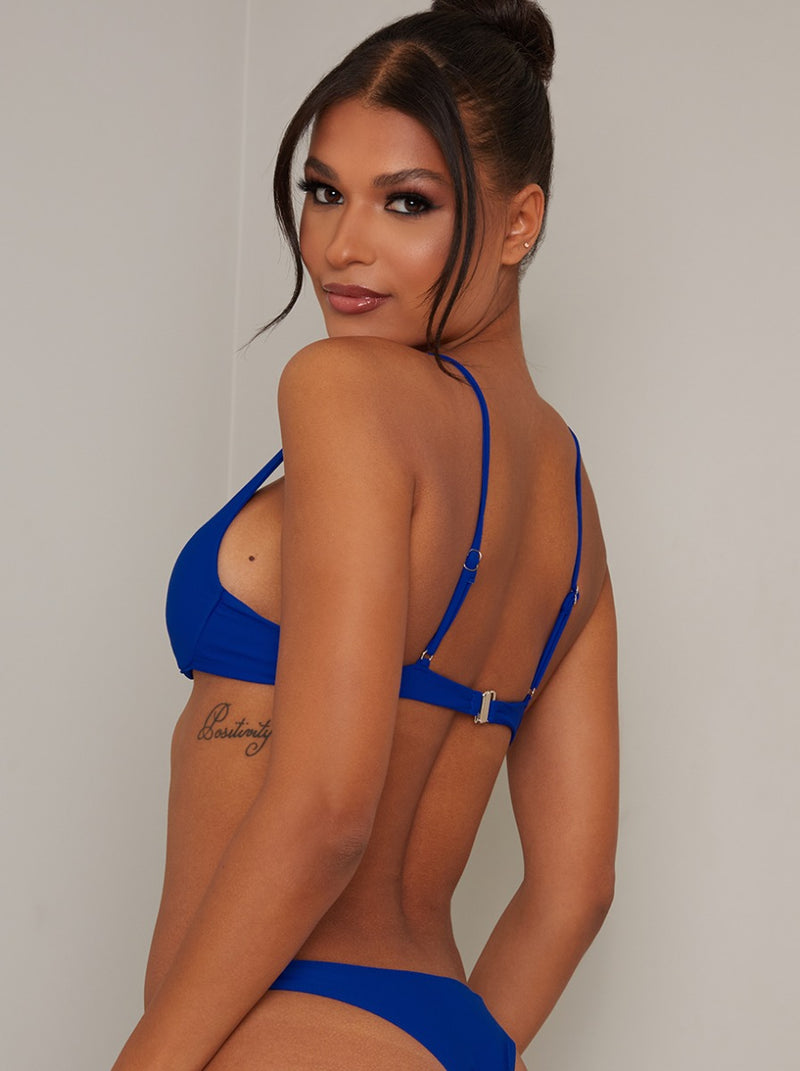 Plunge Front Underwired Bikini Top in Blue