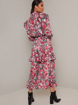 Tiered Long Sleeved Floral Print Midi Dress in Pink