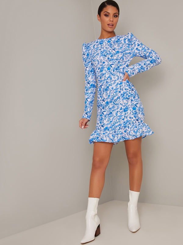 Printed Puff Sleeve Frill Hem Mini Dress in Blue