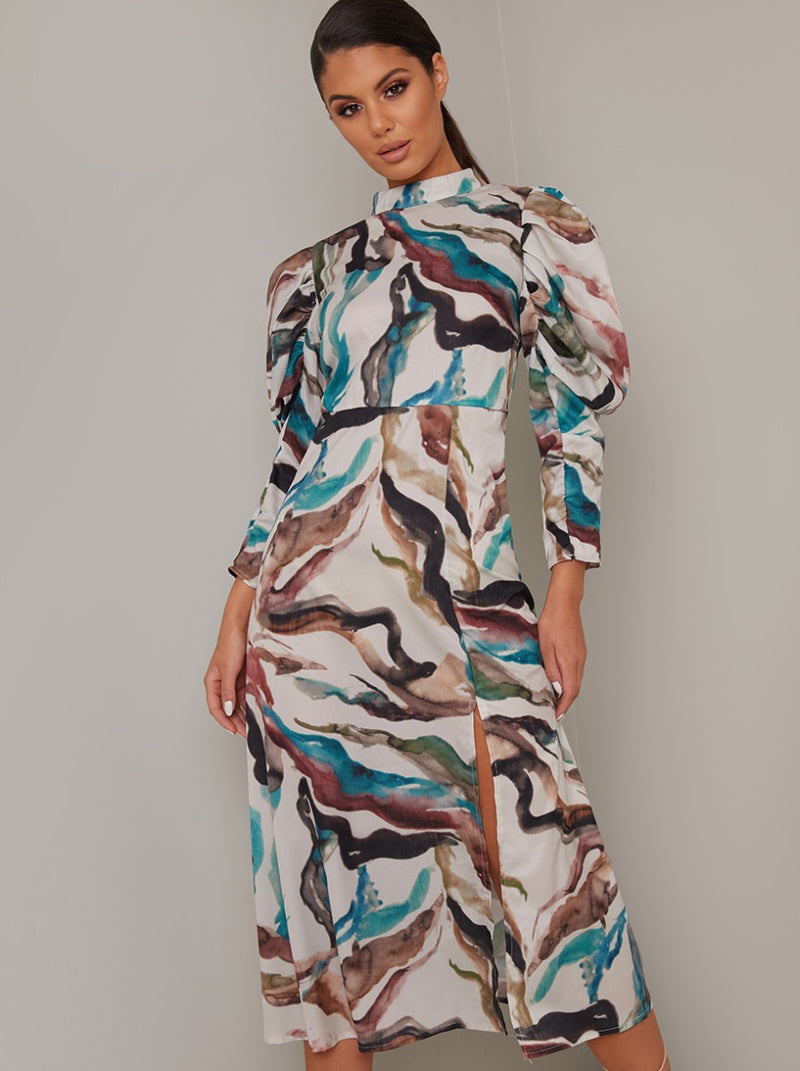 Long Puff Sleeved Print Midi Dress in Multi