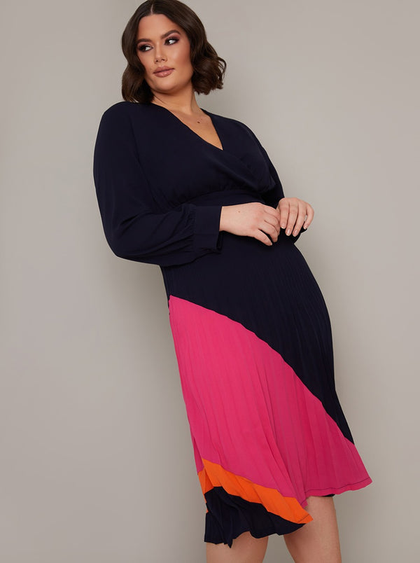Plus Size Long Sleeved Colour Block Midi Dress in Blue