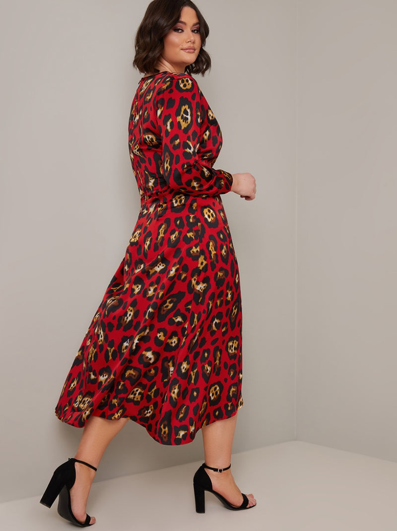 Plus Size Long Sleeved Animal Print Midi Dress in Red