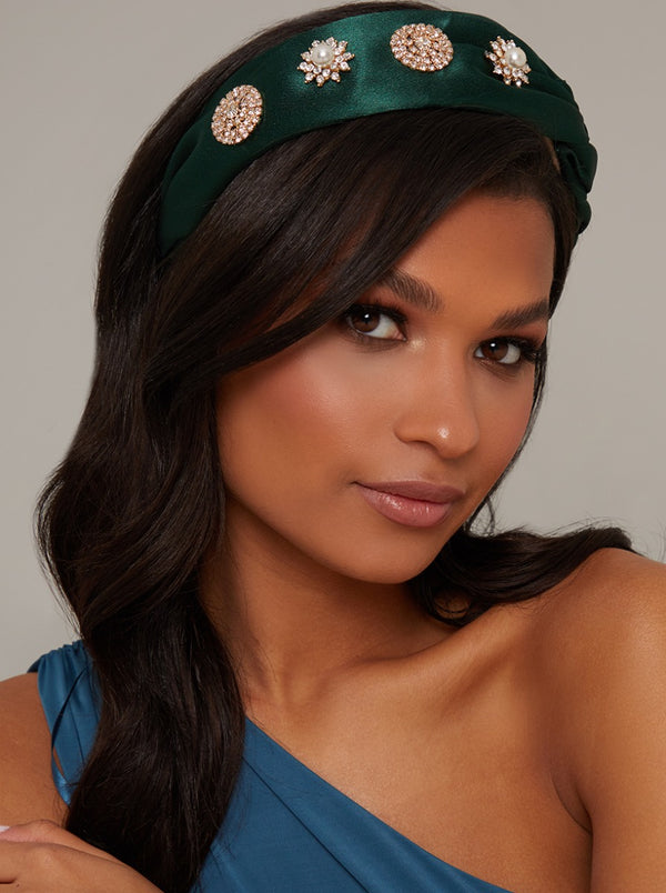 Plaited Detail Embellished Headband in Green
