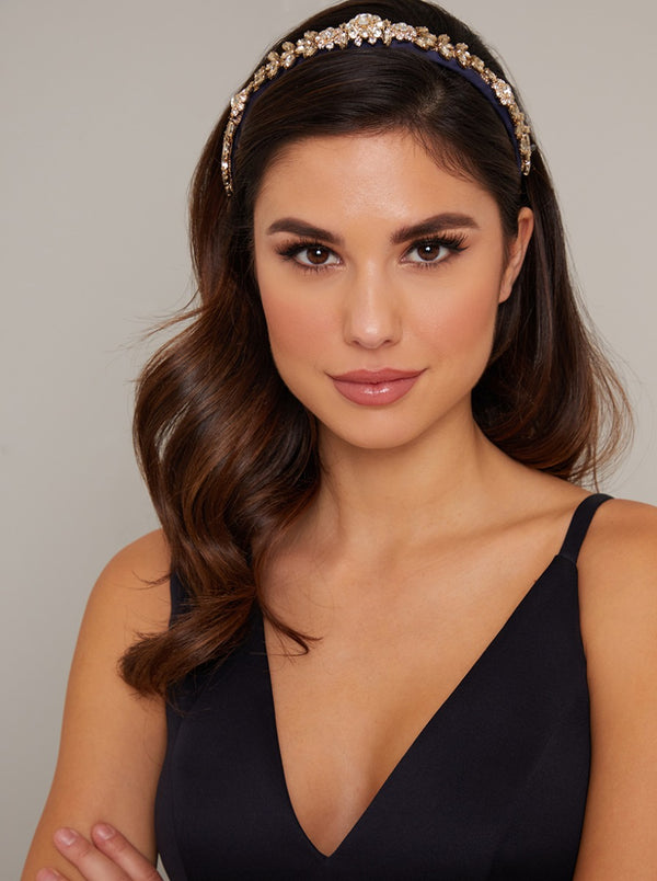 Jewelled Satin Headband in Blue