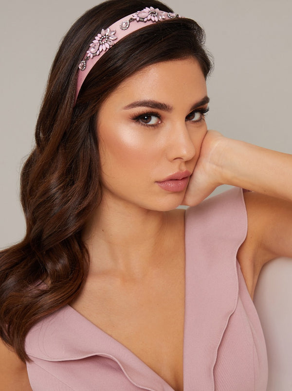 Jewelled Satin Finish Headband in Pink