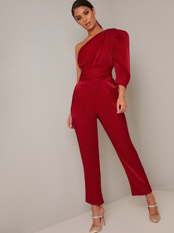 One Should Ruched Tapered Leg Jumpsuit in Red