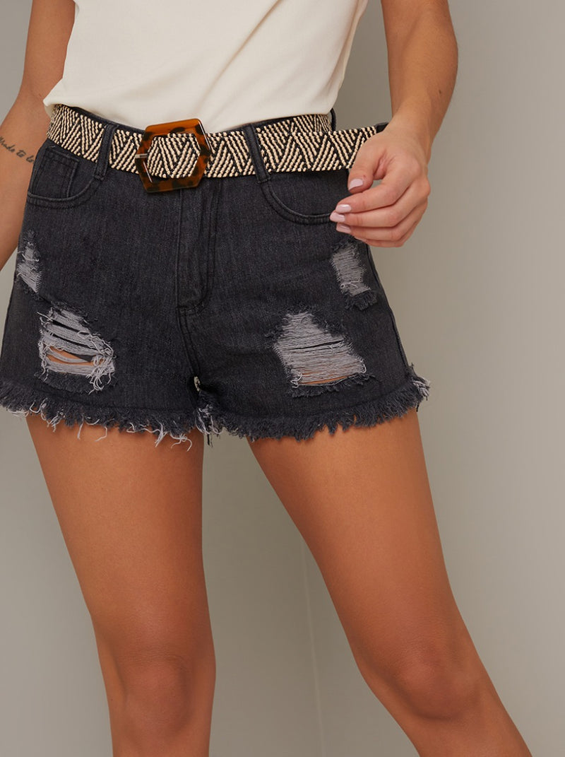 Distressed Denim Ripped Shorts in Black