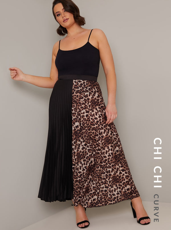 Plus Size Contrast Animal Print Maxi Skirt in Black