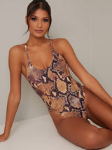 High Cut Snakeskin Print Swimsuit in Brown