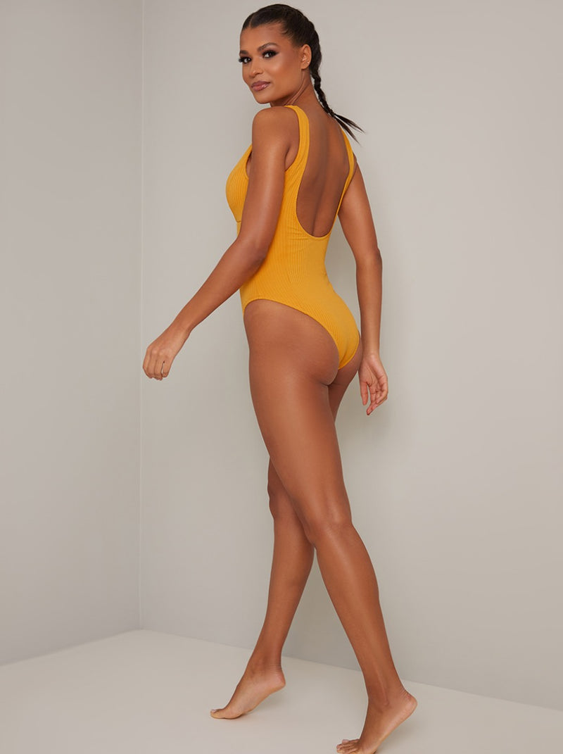 Ribbed High Leg Swimsuit in Yellow