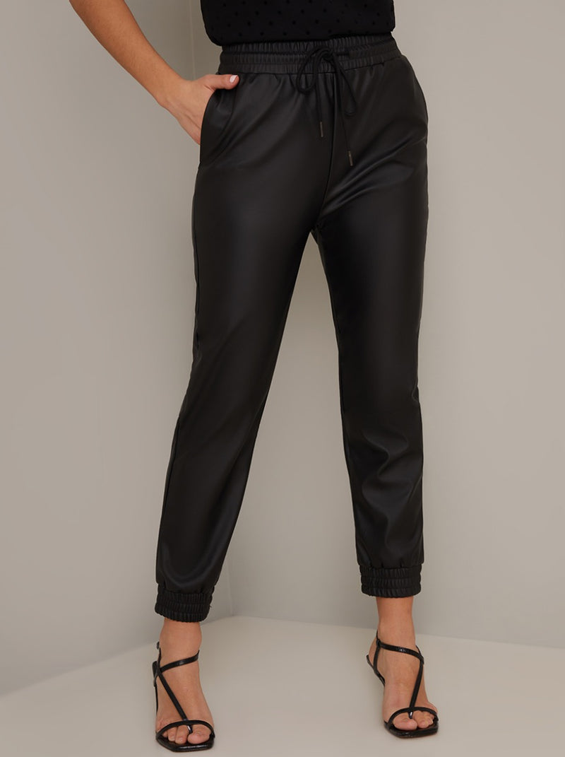 Faux Leather Elasticated Trousers in Black