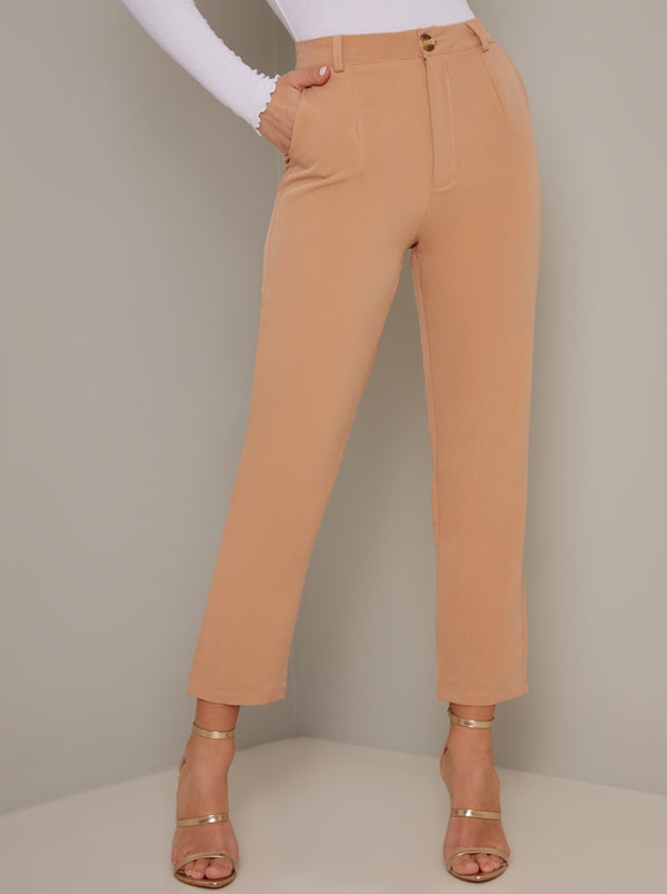 Tapered Leg Crop Trousers in Beige