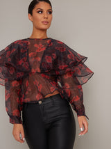 Frill Sheer Organza Print Blouse Top in Black