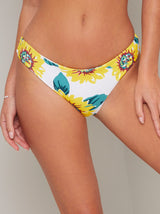 Sunflower Print Bikini Bottoms in Yellow