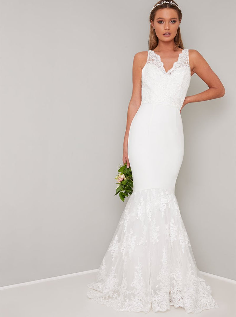 Bridal Lace Fishtail Wedding Dress in White