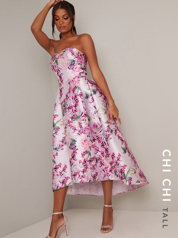 Floral Printed Dip Hem Dress in Pink