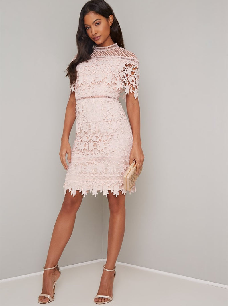 Cap Sleeved Lace Crochet Bodycon Midi Dress in Pink