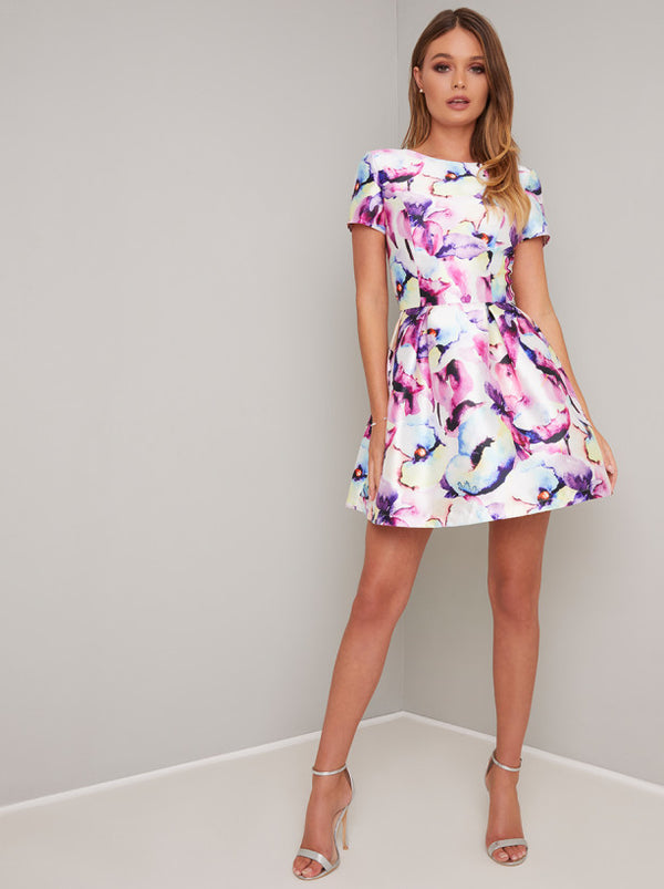 Digital Short Sleeved Floral Print Mini Dress in Multi