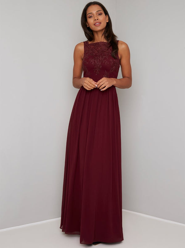 Lace Bodice Chiffon Maxi Dress in Red