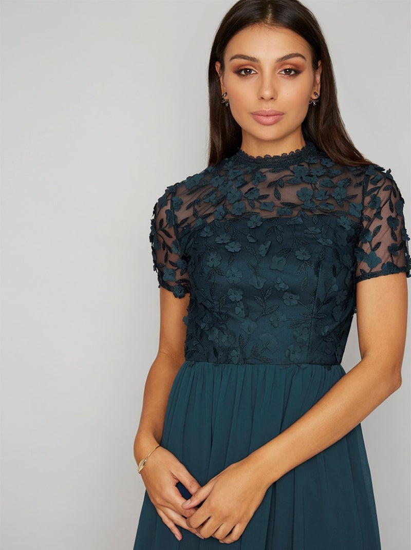 3D Lace Bodice Midi Dress in Green