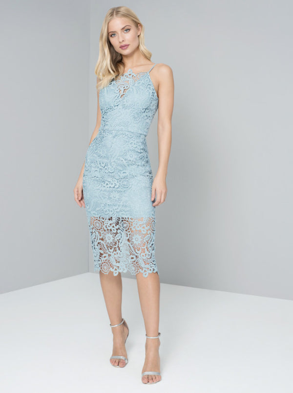Cami Strap Crochet Lace Overlay Bodycon Dress in Blue