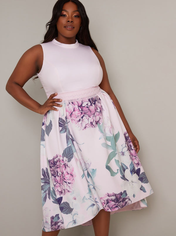 Plus Size Contrast Floral Dip Hem Midi Dress In Pink