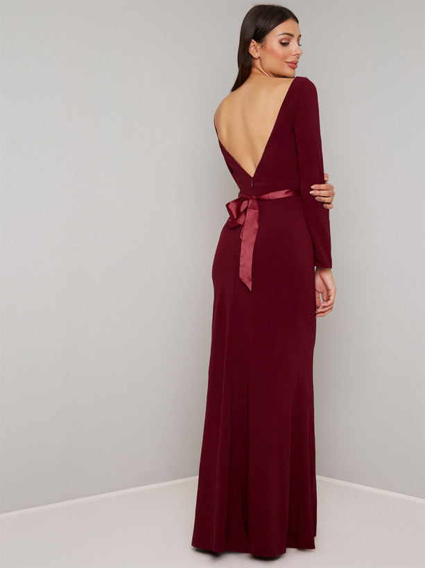 Open Back Bow Detail Maxi Dress in Red