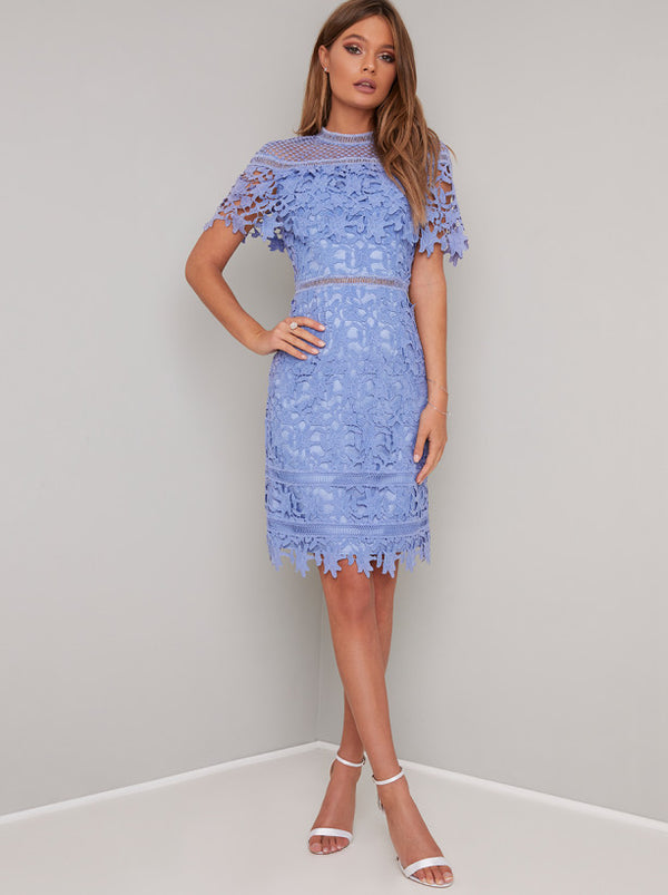 Crochet Lace Bodycon Midi Dress in Blue