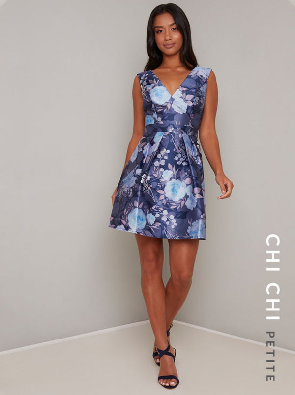 Petite V Neck Floral Print Mini Dress in Blue