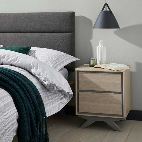 Scandi 2 Drawer Nightstand Oak and Dark Grey