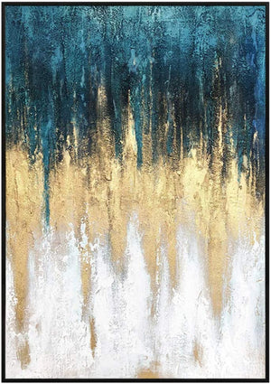 Gold and Blue Canvas Painting