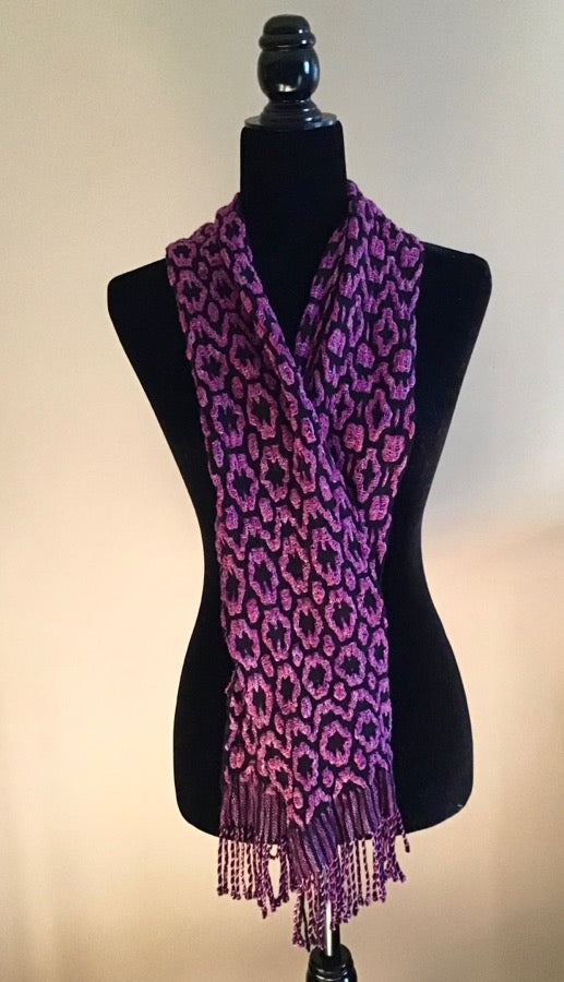 Gallery Item - Rose Petals Deflected Double Weave Hand Woven Scarf