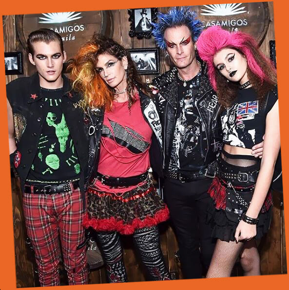 Cindy Crawford and family as punk rockers