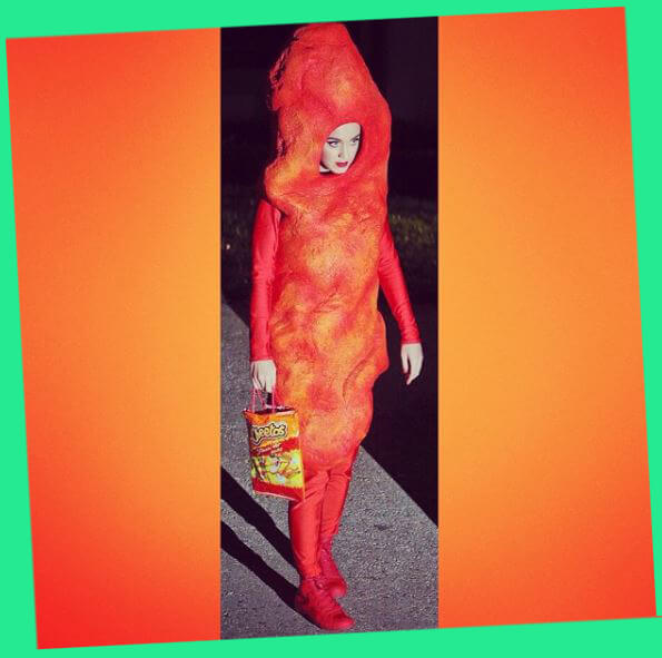 Kat perry in Giant Cheeto Costume