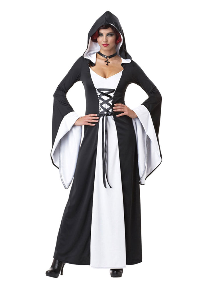 Deluxe Hooded Black and White Robe