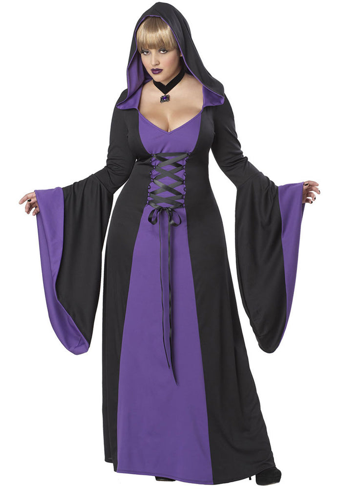 Black and Purple Deluxe Hooded Robe, Plus Size