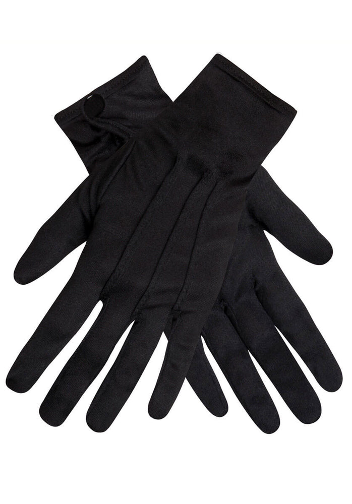 Black Gloves with Push Button - Plus Size