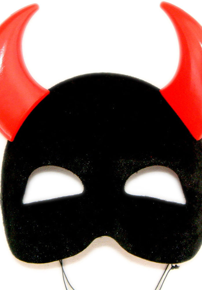 Black Eye Mask with Red Horns