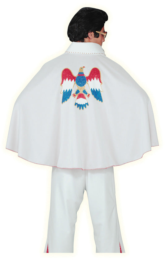 Elvis White Deluxe Cape With Eagle Design, Rock n Roll Fancy Dress