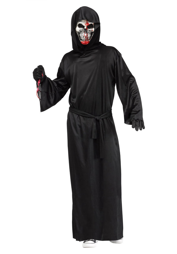 Grim Reaper Death Black Robe Costume with Bleeding Skull
