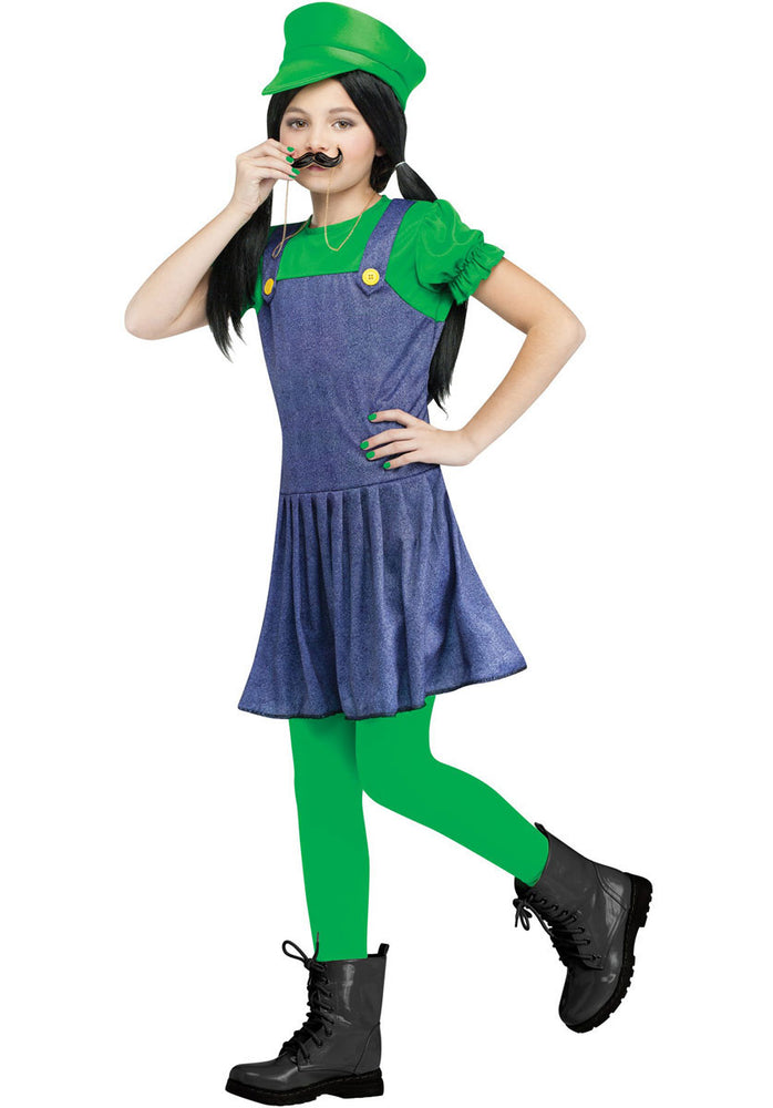 Kids Pretty Plumber Costume in Green