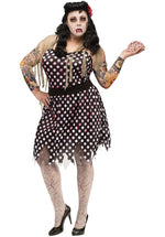 Rockabilly Zombie Ladies Polka Dot Dress Costume Plus Size