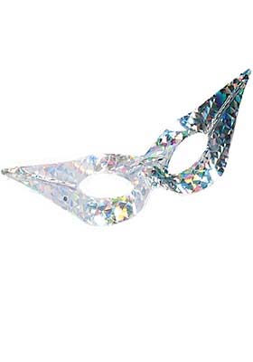 Neon Flyaway Silver Eyemask Smiffys fancy dress