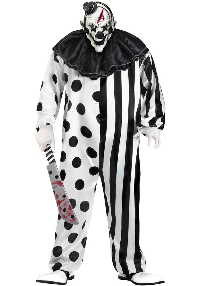 Psycho Evil Killer Black and White Clown Costume