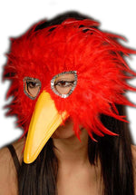 Bird Feather Eye Mask Red