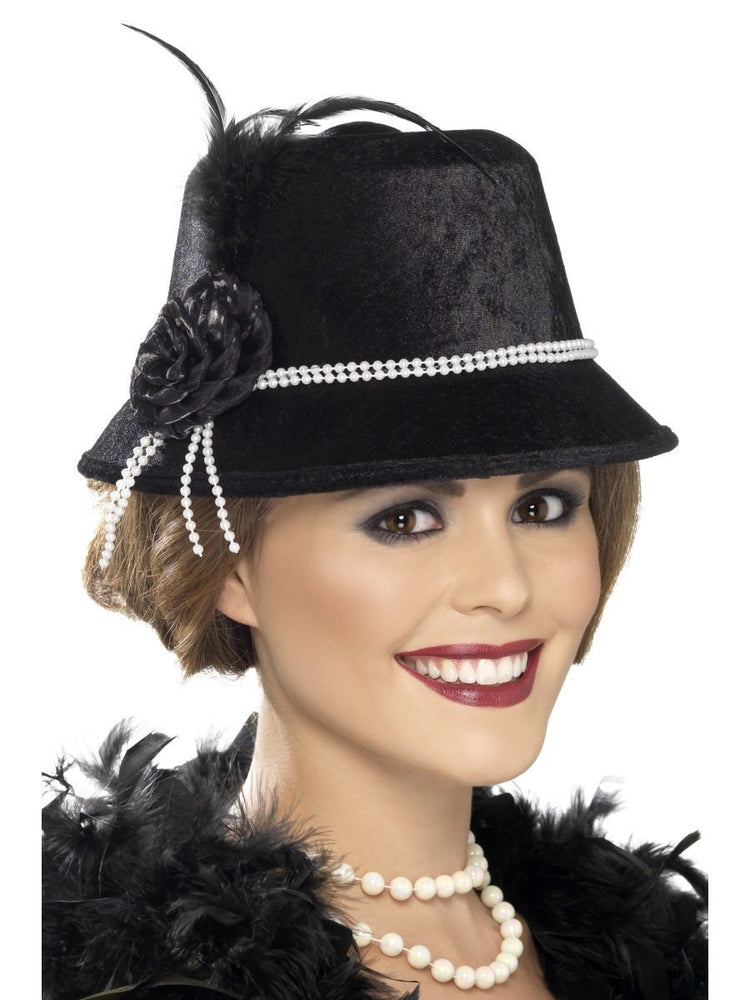 20s Hat, Black with Beads and Flowers