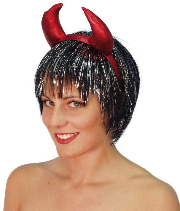 Horns, LUREX, Red Devil, H/Band Smiffys fancy dress
