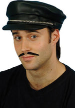 Cap, Biker Black. PVC, Peak with Silver Chain Smiffys fancy dress