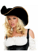 Black Pirate Hat with Gold Trim