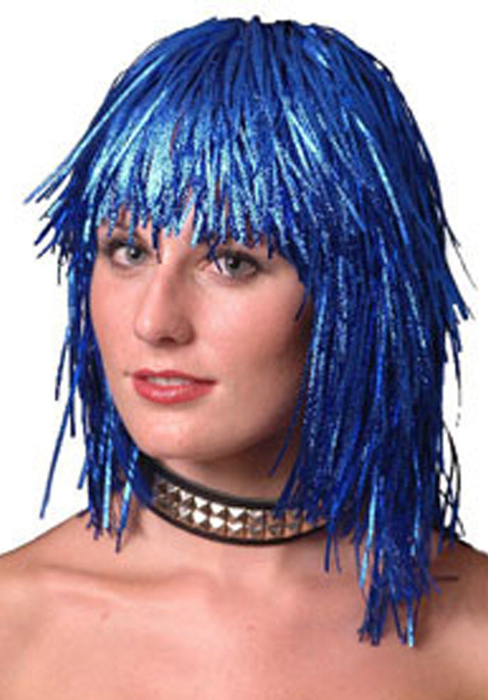 Blue Cyber Tinsel Wig